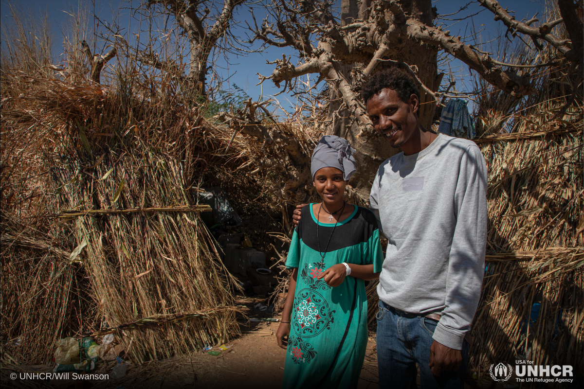 Ethiopian refugees, Fusuh and Hellenstand outside their shelter at Um Rakuba camp in Al Qadarif state, Sudan.